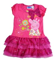 2013 new Peppa Pig dress for girl , girl dress, 5pcs/lot wholesale Free shipping, pink, 100% cotton, girl clothing