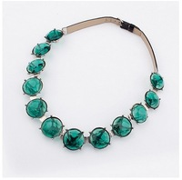 2013 Free Shiping Grandson Couple Paris Fashion Week False Back On Green Gem Collar Dress Sweater Necklace