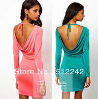 2014 spring autumn new women's sey club halter backless long sleeve elastic mini red green dress dresses free shipping wj