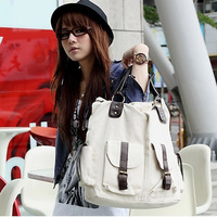 2013 fashion femal canvas shoulder bag handbag messenger bag large capacity PU leather