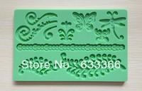 Factory Wholesale 10 pcs  Fondant tool Animal leaf shape baking mold silicone embossing lace mold