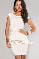 M L XL Plus Size New Fashion Women Black/White Vintage Gold Edge Peplum Casual party Dress Elegant OL Work Dresses N120