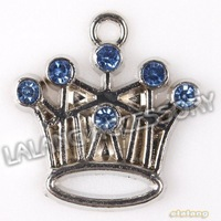 Fashion 45pcs/lot Crown Blue Rhinestone Plated Rhodium Alloy Charms Pendant  Findings 21*20*3mm 145290