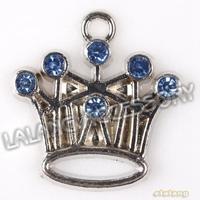 Fashion 45pcs/lot Crown Blue Rhinestone Plated Rhodium Alloy Charms Pendant  Findings 21*20*3mm 145290