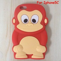 Free shipping 10pcs/lot Fashion 3D Animals Cartoon Silica Gel Skin Case stereo Monkey King Rubber Soft Cover For Iphone5C
