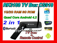 Free shipping (K-R42/CS918) Android 4.2 TV Box RK3188 Quad Core Mini PC USB WiFi Smart TV Media Player with Remote Controller