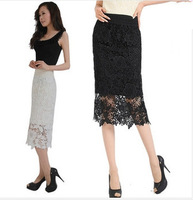 Free Shipping 2013 Autumn Women high waist slim plus size over-the-knee long Lace skirts ,skirt fashion 2013 women S-4XL Size