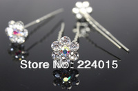 Free Shipping !20pcs/14mm Silver Plated AB Color Clear Crystal Drill/Rhinestone Bridal Hairpin  For Women Hair Wedding Jewelry