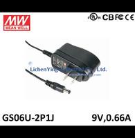 MeanWell 6W 9V 0.66A Single Output Wall mounted type Green Adaptors GS06U-2P1J 2 pole USA plug Adaptor UL CE CB certificated