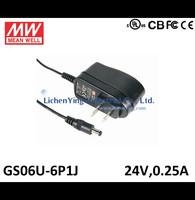 MeanWell 6W 24V 0.25A Single Output Wall mounted type Green Adaptors GS06U-6P1J 2 pole USA plug Adaptor UL CE CB certificated