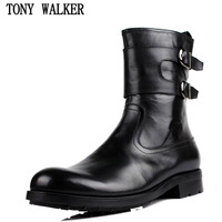 2014 men's boots genuine leather fashion martin boots high big head leather single shoes trend medium-leg boots