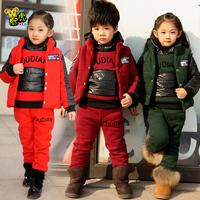 Children's clothing male female child winter child boy thickening size three pieces set 5 6 8 10 12