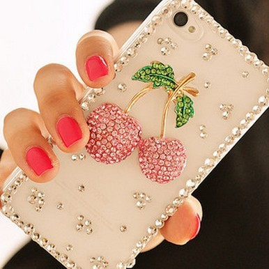 Wholesales mobile accessories Hand Made DIY Cherry cell phone case cover puch decoration for IPHONE 5(China (Mainland))