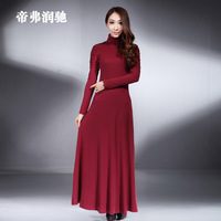 Embroidered knitted stand collar long-sleeve ultra long autumn/ winter legging one-piece dresses plus size XXXL white black red