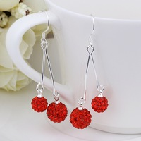 New Arrival!!Wholesale 925 Silver Earring,Double Disco Ball Bead,Crystal Shamballa Drop Earring,Fasion jewelry SBE161
