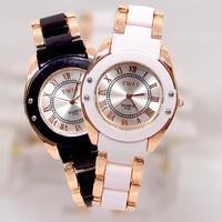 WholeSale Gold Tone watch luminous Crystal women dress Watch ceramic noble WristWatch Ladies Girls Quartz  Watch TW025