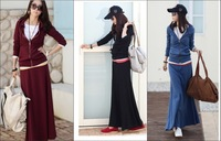 2014 new spring women clithes women fashion SZC- 399 plain casual with a hood full dress set