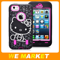 Hello Kitty TPU Skin Cover Shockproof Case For Iphone 5 5G PC+TPU Cartoon Kitty Case For iphone5 5G 100pcs DHL Free Shipping