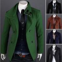 2013 new Elegant single breasted chest double cover design men's wool coat windbreaker trench coat men free shipping