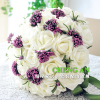 Free shipping 30PCS white PE rose 28-30cm Artificial flower Bride or Bridesmaid wedding bouquets PERF-30-4123