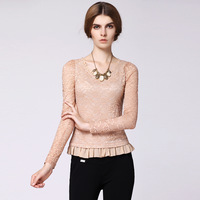 Women's 2013 autumn lace long-sleeve basic shirt female top slim lace shirt female