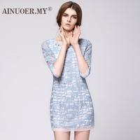2013 autumn and winter organza one-piece dress three quarter sleeve embroidery gauze one-piece dress diamond check fashion