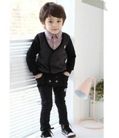 Child 100% cotton sweatshirt set male child preppy style british style set faux two piece set flower girl formal dress