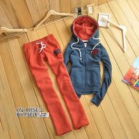 INPOSE 2014 Autumn And Winter Women Fashion Casual 100% Cotton Cardigan Sweatshirt Sport Suit Women