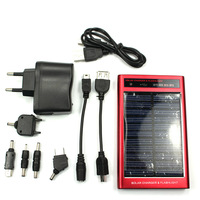 WN-067 2600mAh Multi-function Solar Battery Charger with Flashlight Red