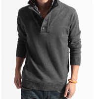 Autumn 2013 sweater male double collar faux two piece plus size outerwear men's clothing sweater wool sweater male