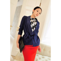 2013 spring and autumn women's large lapel waist long-sleeve trench outerwear female jz2141