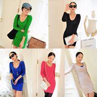 2013 autumn women's puff sleeve slim all-match V-neck dz2179 long-sleeve dress