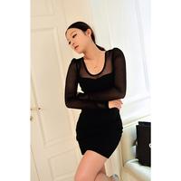 2013 autumn women's sexy gauze slim long-sleeve dress elegant dz2174