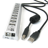 NEW Wholesale USB 2.0 Hub 10 Port HUB With Power Adapter USB Cable For PC Computer  Super Cheap 10PCS/LOT
