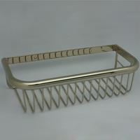 Fashion vintage luxury copper gold shelf basket square gold plated single tier basket