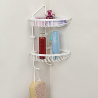 Hardware hanging accesories double layer white paint copper basket bathroom corner shelf tripod with hook