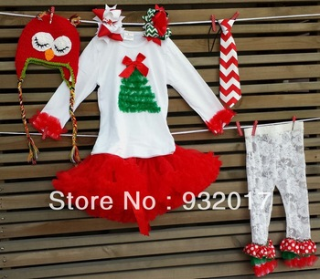 2013 children christmas baby  Pettiskirt  white long sleeve with christmas tree lace legging owl crochet  girls neckties