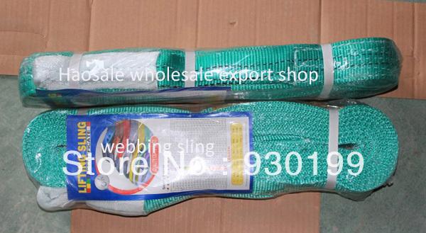 wholesale price Green Polyester Flat Webbing Sling 2T 3M 5pcs a lot(China (Mainland))
