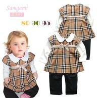 Autumn female child plaid style dress bodysuit p35 3