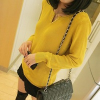 2013 autumn women's loose sweater V-neck basic sweater female