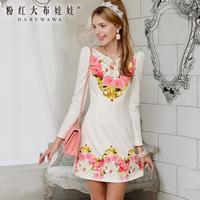 2013 autumn  white flower print long-sleeve hight quality dress
