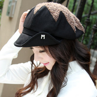 2013 women's autumn and winter hat pleated wool cap dome star cap female bucket hats fashion cap