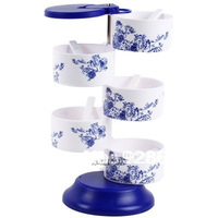 Kitchen Blue and white porcelain rotating  spice jar storage bottles free shipping