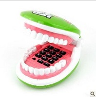1PC New Flexible Cable Smiling Teeth Shaped Foldable Telephone Green + Free Shipping