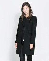 Autumn Coat Womens Wool Blends Fashion Overcoat O-Neck Silm Black/Red S/M/L