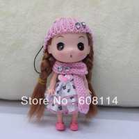 Free Shipping,Wholesale(20pcs/lot) 12CM Very Cute Girl With Dotty Dress Vinyl Ddung Doll Heart
