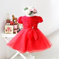 2013 Girls Big Bow Ball Dresses Baby Tutu Layered Dresses Children Wedding Shortsleeve Dress  Princess Party Dress Wholesale!