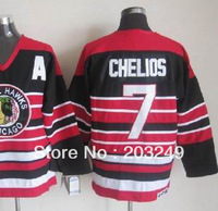 Blackhawks #7 Chris Chelios black w/red stripped CCM jerseys, w/ 75th patch
