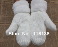 Fashion Women's Fur Knit Mittens Winter Roll-Up Gloves Soft Warm , Free Shipping