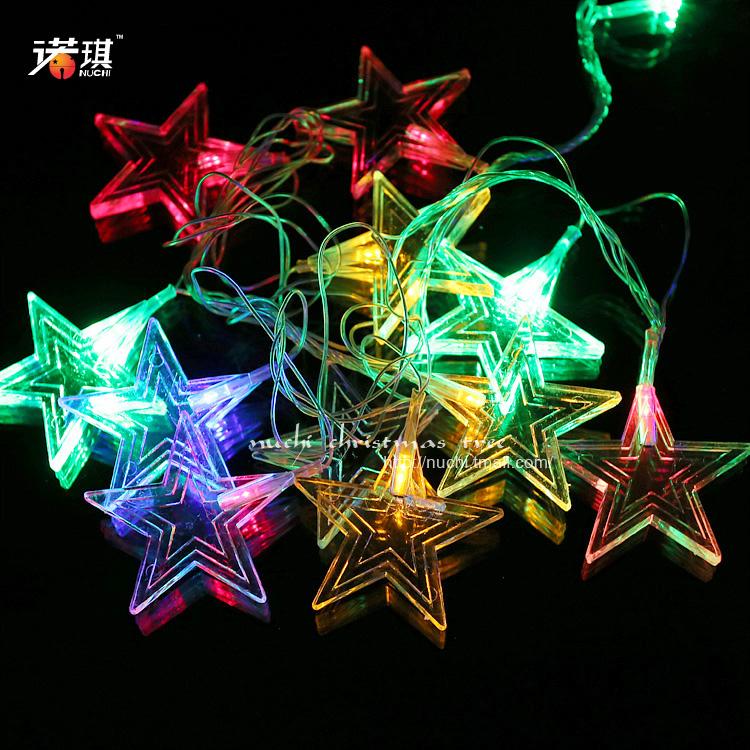Christmas led lighting set holiday lights 6 6cm flat five-pointed star led lighting set 10 bag 60g(China (Mainland))